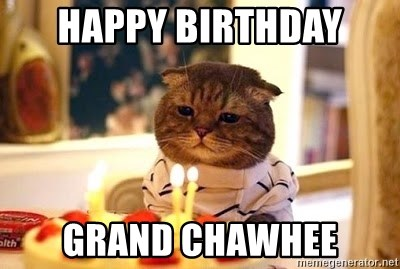 Birthday Cat - Happy birthday  Grand chawhee