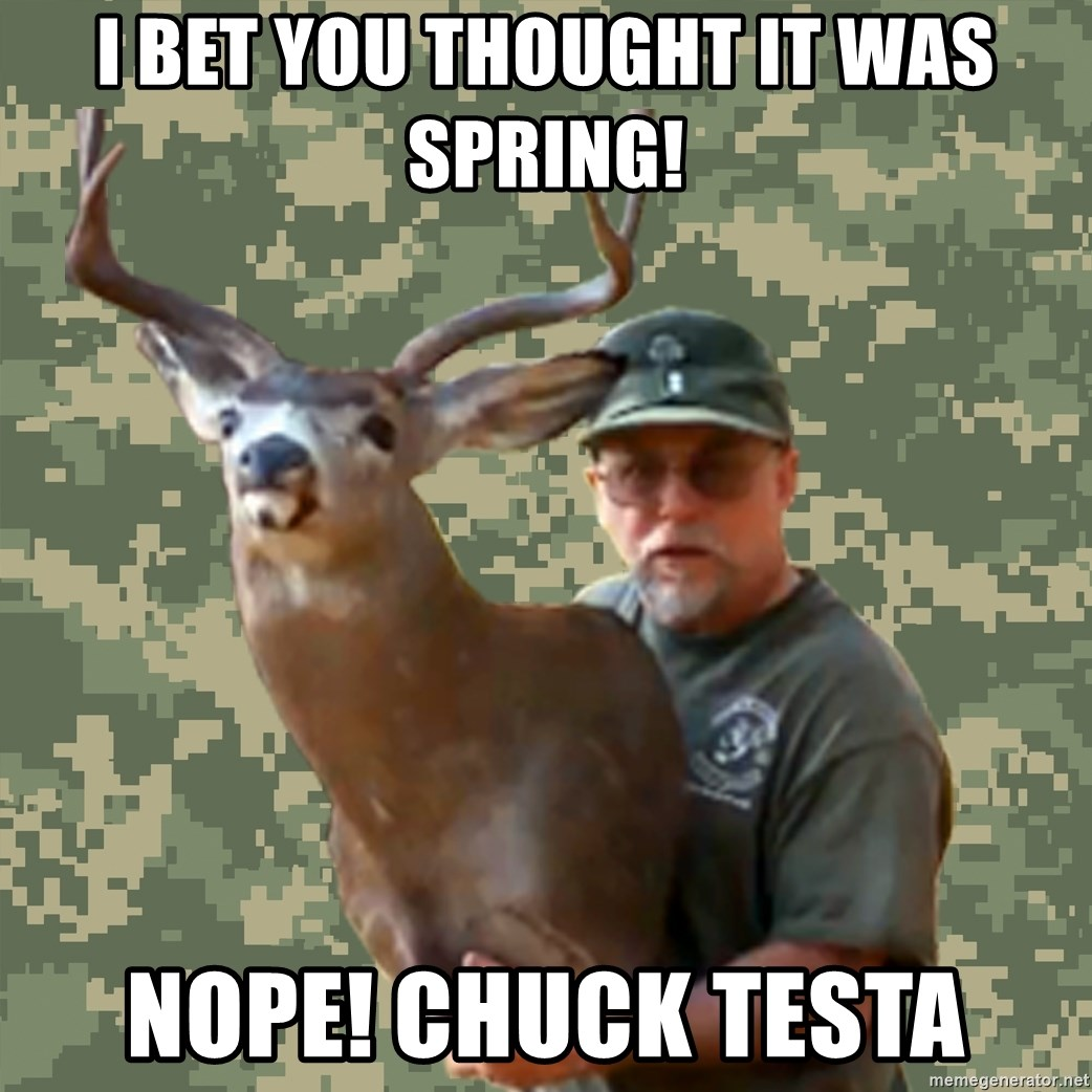 Chuck Testa Nope - I bet you thought it was spring! NOPE! Chuck Testa