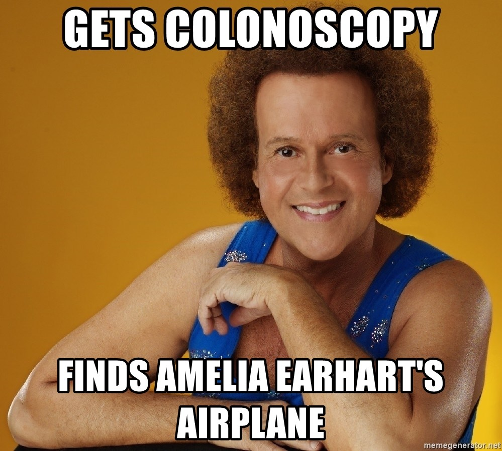 Gay Richard Simmons - gets colonoscopy finds amelia earhart's Airplane