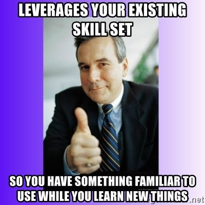 Good Guy Boss - Leverages your existing skill set so you have something familiar to use while you learn new things