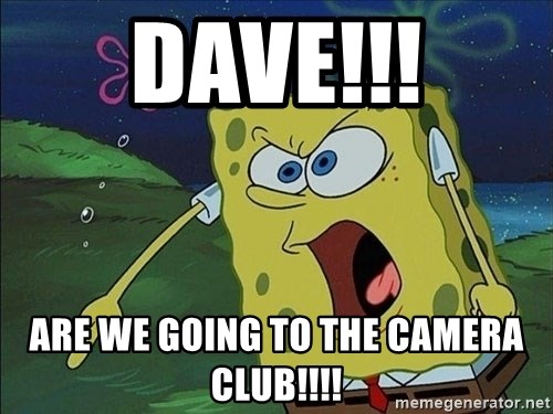 Screaming Spongebob - DAVE!!! Are we going to the camera club!!!!
