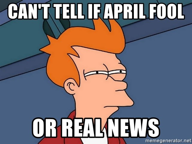 Futurama Fry - Can't tell if april fool or real news
