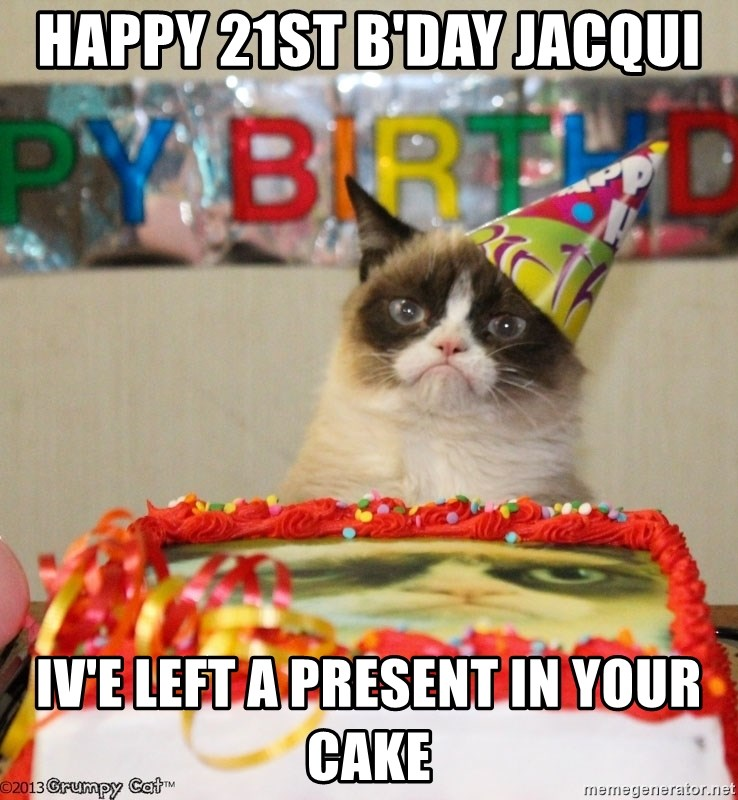 Grumpy Cat Birthday hat - Happy 21st B'day Jacqui Iv'e left a present in your cake