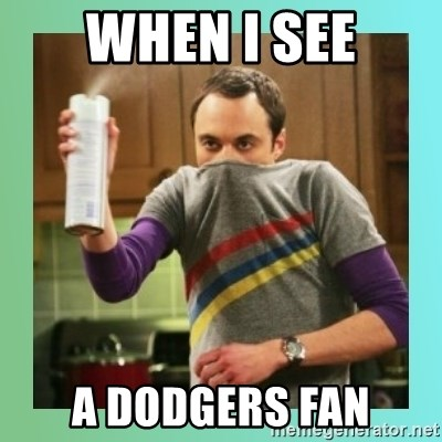 Sheldon Cooper spray can - When I see A Dodgers fan