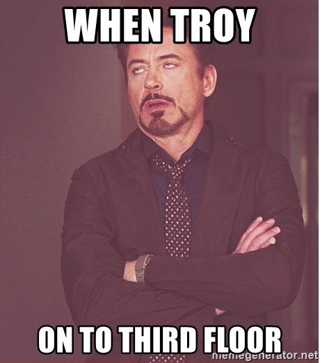 Robert Downey Junior face - When Troy On to third floor