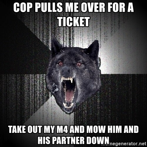 Insanity Wolf - cop pulls me over for a ticket take out my m4 and mow him and his partner down