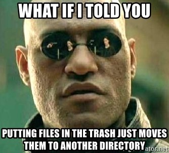 What if I told you / Matrix Morpheus - WHAT IF I TOLD YOU PUTTING FILES IN THE TRASH JUST MOVES THEM TO ANOTHER DIRECTORY
