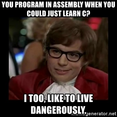 Dangerously Austin Powers - You program in assembly when you could just learn c? I too, like to live dangerously.