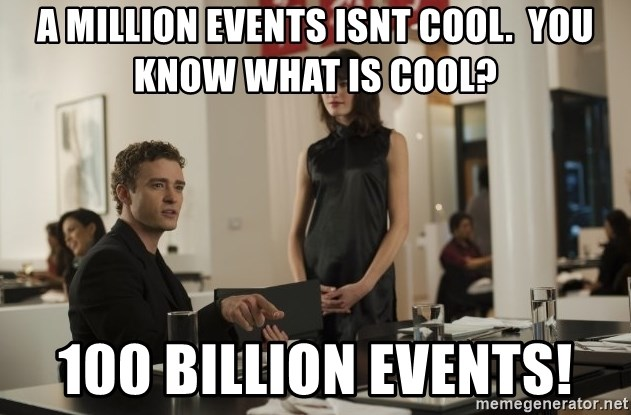 sean parker - A Million events isnt cool.  You know what is cool? 100 billion events!
