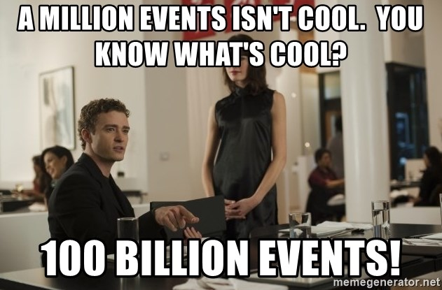 sean parker - A million events isn't cool.  you know what's cool? 100 billion events!