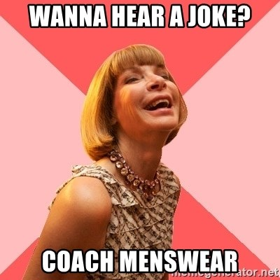 Amused Anna Wintour - Wanna hear a joke? Coach menswear
