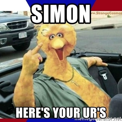 Big Bird Middle Finger - SIMON Here's your UR's
