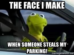 kermit the frog in car - The face I make  when someone steals my parking!
