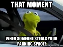 kermit the frog in car - That moment  when someone steals your parking space!