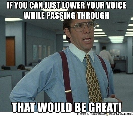 That would be great - if you can just lower your voice while passing through that would be great!