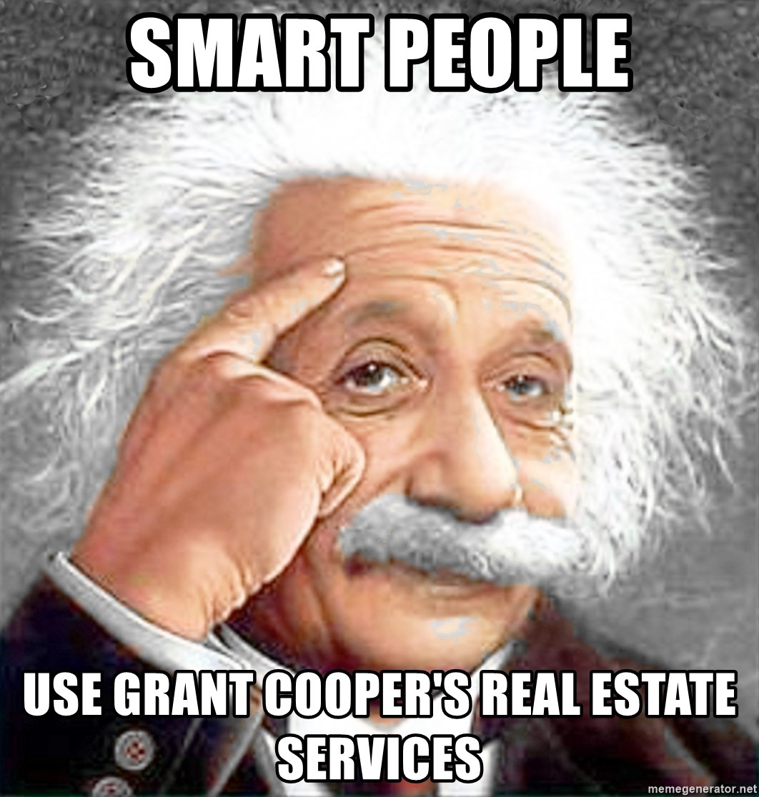 Albert Einstein 2 - Smart People Use Grant Cooper's REAL ESTATE services