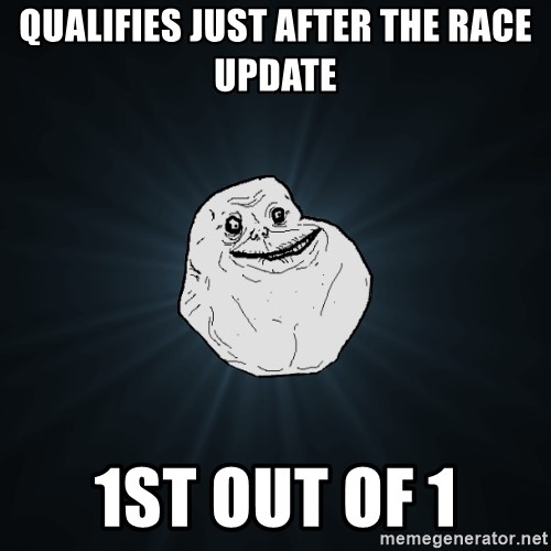 Forever Alone - qualifies just after the race update 1st out of 1