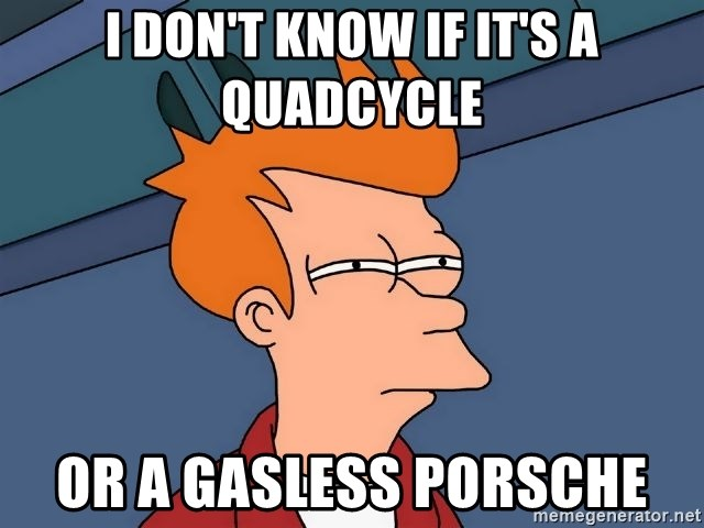 Futurama Fry - I don't know if it's a quadcycle or a gasless porsche