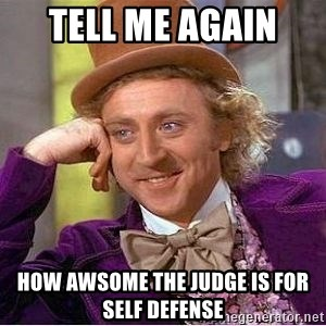Willy Wonka - tell me again  how awsome the judge is for self defense