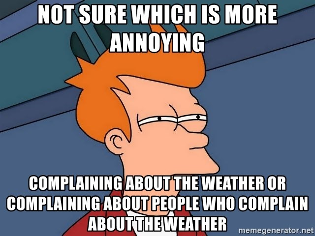Futurama Fry - Not sure which is more annoying Complaining about the weather or complaining about peOple who complain about the weather