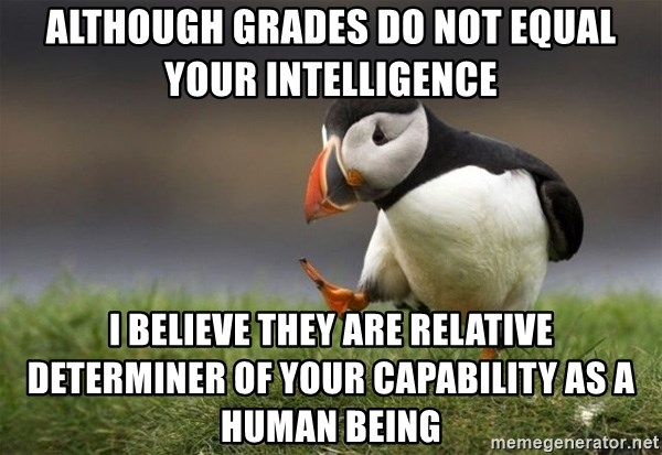 Unpopular Opinion Puffin - ALTHOUGH GRADES DO NOT EQUAL YOUR INTELLIGENCE I BELIEVE THEY ARE RELATIVE DETERMINER OF YOUR CAPABILITY AS A HUMAN BEING