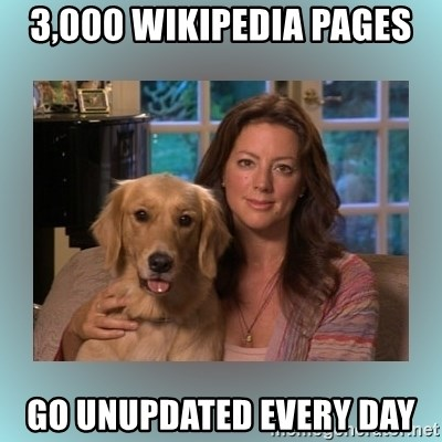 Sarah McLachlan - 3,000 Wikipedia pages go unupdated every day