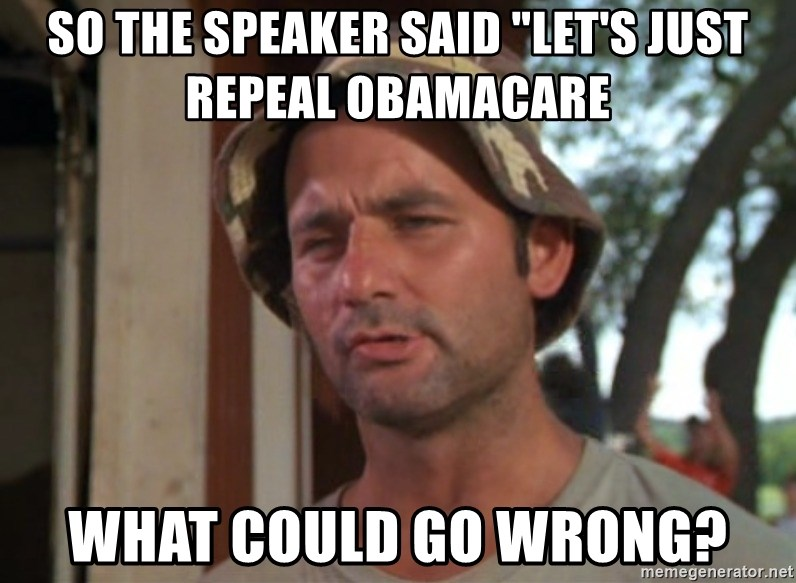 """So I got that going on for me, which is nice - sO THE sPEAKER SAID """"LET'S JUST REPEAL oBAMACARE wHAT COULD GO WRONG?"""