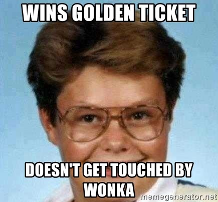 good luck larry hd - wins golden ticket doesn't get touched by wonka