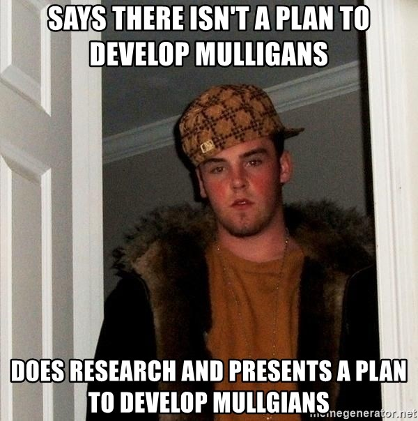 Scumbag Steve - Says there isn't a plan to develop mulligans Does Research and Presents a Plan to develop Mullgians