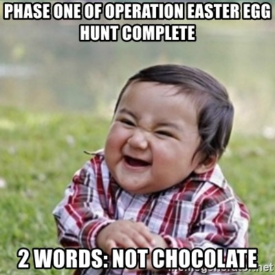 evil plan kid - Phase one of operation easter egg Hunt Complete 2 words: not chOcolate