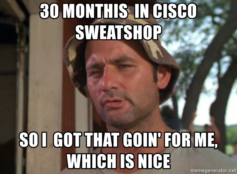 So I got that going on for me, which is nice - 30 monthis  in cisco sweatshop so i  got that goin' for me, which is nice