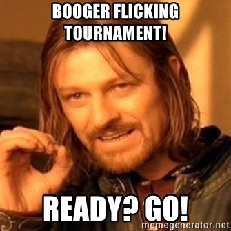 One Does Not Simply - Booger flicking tournament!  Ready? GO!