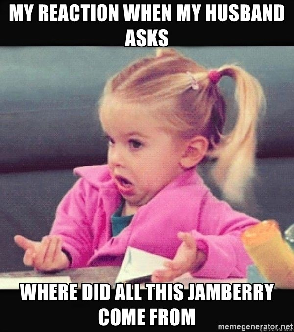 I have no idea little girl  - My reaction when my husband asks Where did all this Jamberry come from