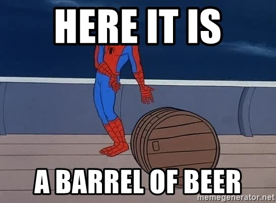 Spiderman and barrel - here it is a barrel of beer
