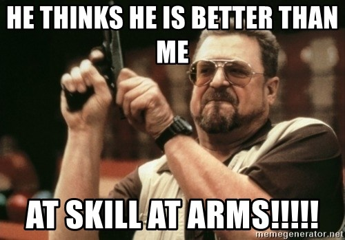 Walter Sobchak with gun - he thinks he is better than me  at skill at arms!!!!!