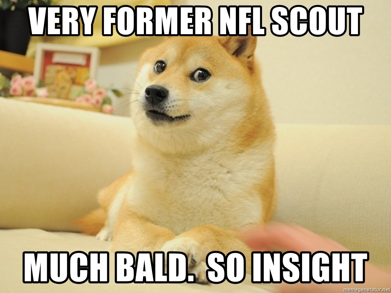 so doge - Very former NFL Scout Much BALD.  so Insight