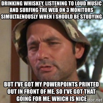 Carl Spackler - Drinking whiskey, listening to loud music and surfing the web on 3 monitors simultaenously when I should be studying But I've got my powerpoints printed out in front of me, so I've got that going for me, which is nice