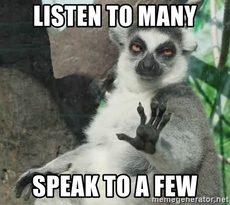Talk To The Hand Animal - listen to many speak to a few