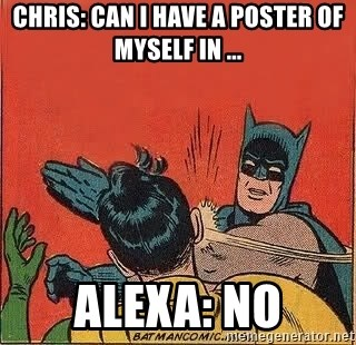 batman slap robin - Chris: can i have a poster of myself in ... alexa: no