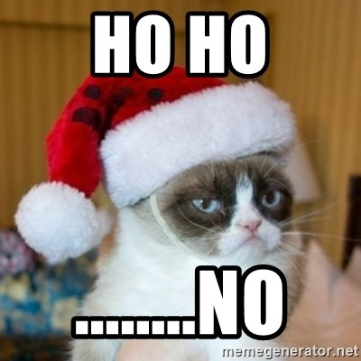 Grumpy Cat Santa Hat - ho ho ........no