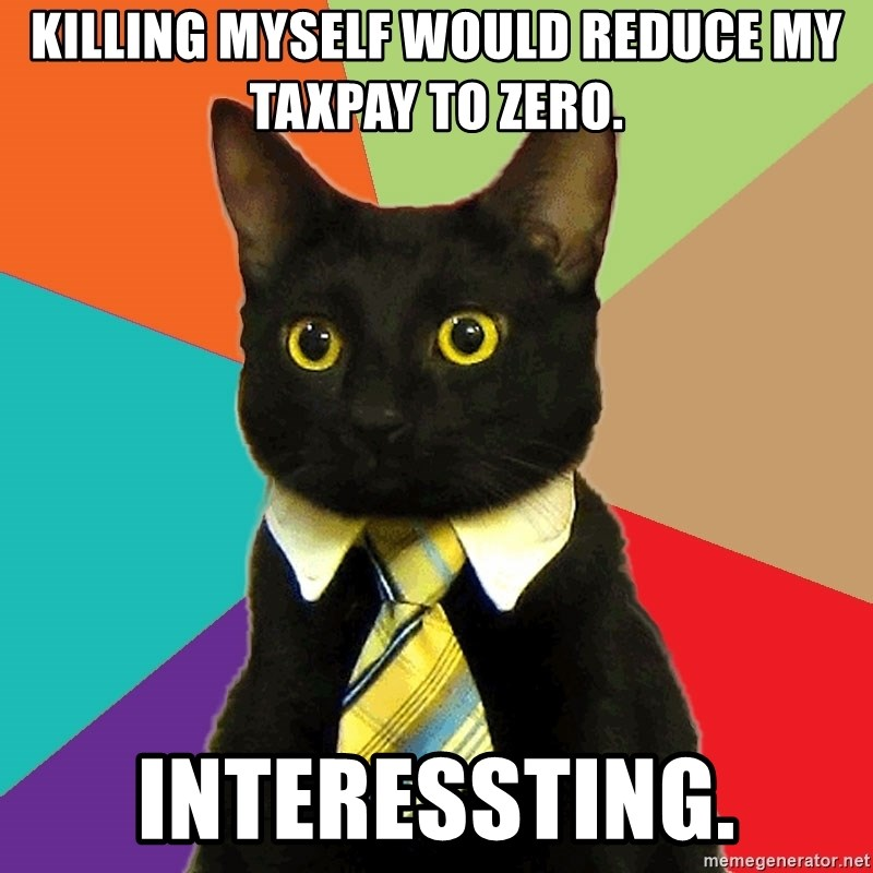 Business Cat - Killing myself would reduce my taxpay to zero. Interessting.