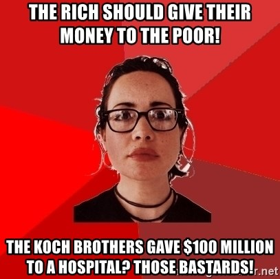 Liberal Douche Garofalo - the rich should give their money to the poor! the koch brothers gave $100 million to a hospital? those bastards!
