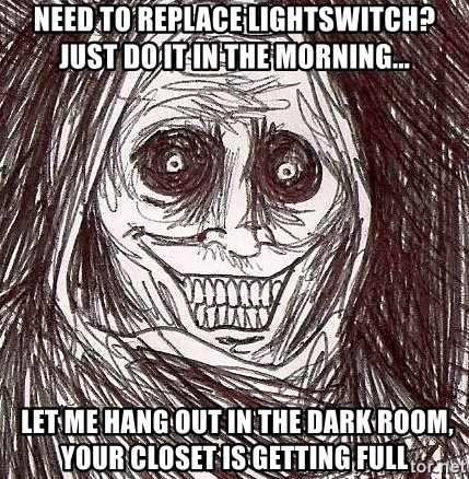 Shadowlurker - need to replace lightswitch?just do it in the morning...  let me hang out in the dark room, your closet is getting full