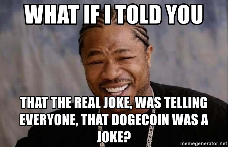 Yo Dawg - what if i told you that the real joke, was telling everyonE, that dogecoin was a joke?