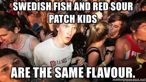 Sudden Realization Ralph - Swedish Fish and red Sour Patch Kids are the same flavour.