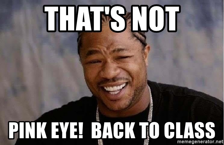 Yo Dawg - that's not pink eye!  back to class