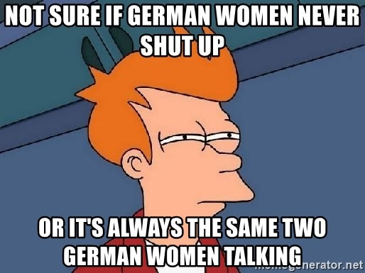Not Sure If German Women Never Shut Up Or It S Always The Same Two German Women Talking Fry Fry Meme Generator