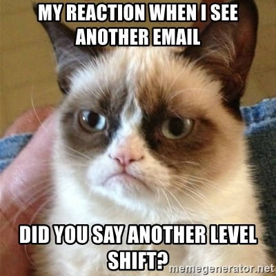 Grumpy Cat  - My Reaction when I see another email DiD you say another level shift?
