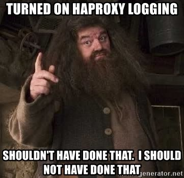 Hagrid - TURNED ON HAPROXY LOGGING SHOULDN'T HAVE DONE THAT.  I SHOULD NOT HAVE DONE THAT