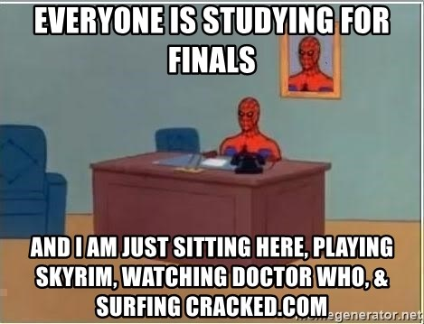 Spiderman Desk - everyone is studying for finals and i am just sitting here, playing skyrim, watching doctor who, & surfing cracked.com